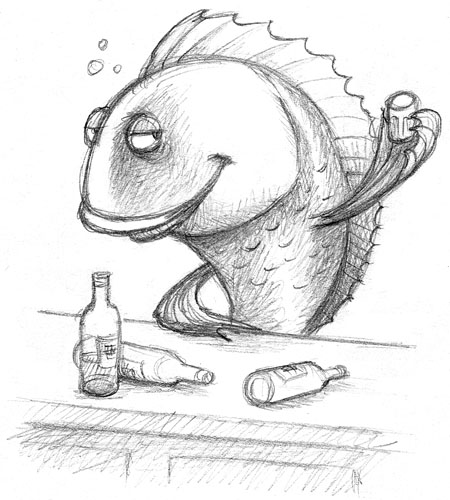 Animal idioms sketched out page 9 for Fish in a bottle menu